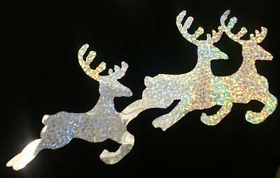 reindeer SILV HOLO iron-on transfer APPLIQUE patch