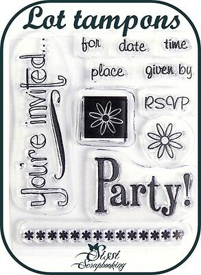 Lot 11 Tampons Clear Invitation Fête Frise Scrapbooking