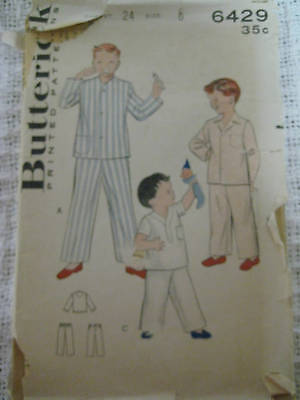 Vintage Butterick Boys TWO-PC PAJAMAS Sewing Pattern
