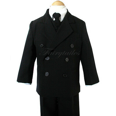 New Boy Black Double Breasted Tuxedo Suit Select Size