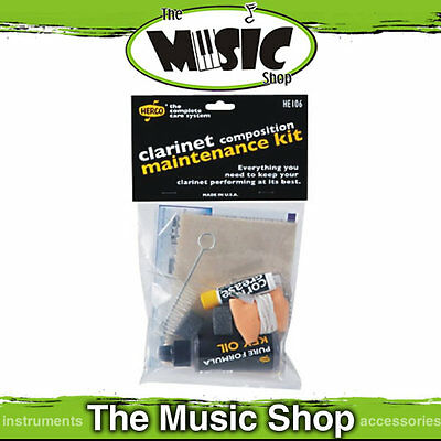 Herco Clarinet Maintenance Cleaning Kit - Cork Grease, Key Oil, Polish Cloth etc