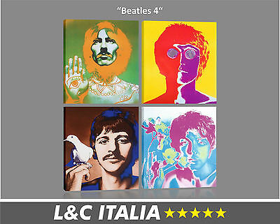 Beatles 4 QUADRO MODERNO 105x125 cm INTELAIATO STAMPA TELA ROCK QUADRI POP ART