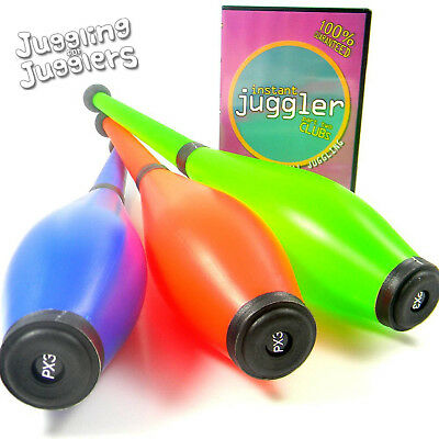 3 x PX3 Moulded Flouro juggling clubs and free instructional DVD deal