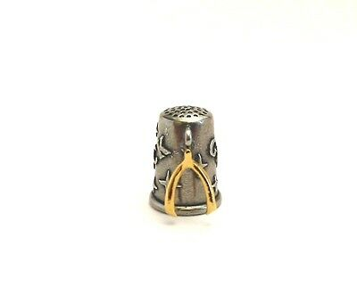 Thimble Wishbone 22ct Gold Plated Charm Good Luck Thimble Gift Collectible