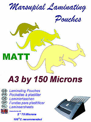 A3 laminating pouches 13 MATT finish 150 micron (for high illumination area use)