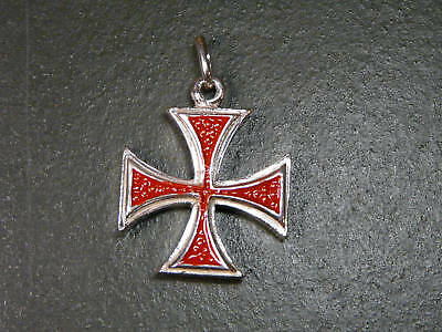 CROCE TEMPLARI IN ARGENTO E SMALTO 925 sterling silver