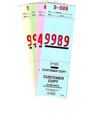 4 PART VALET PARKING TICKETS 2 SIDED 1000 Per Pack