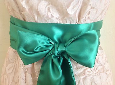 "3.5x60"" EMERALD GREEN SATIN FABRIC SASH BELT SELF TIE BOW RIBBON STYLE FOR DRESS"