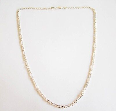Sterling Silver Figaro Pattern Chain Necklace 19.5""
