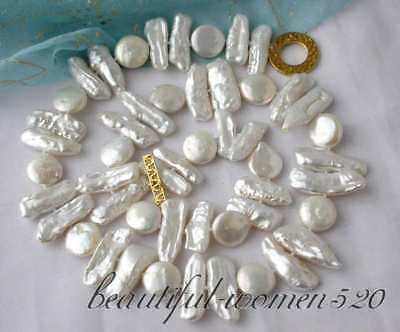 """20"""" 22mm biwa/coin white freshwater pearl necklace"""