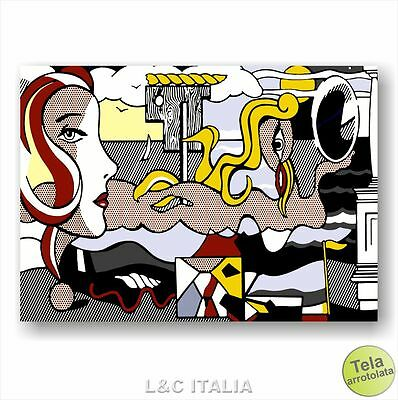 Roy Lichtenstein Figures in Landscape STAMPA TELA QUADRO QUADRI ARREDO POP ART