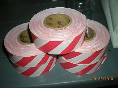 "Red and White Striped Flagging Tape 1 3/16"" x 300'"
