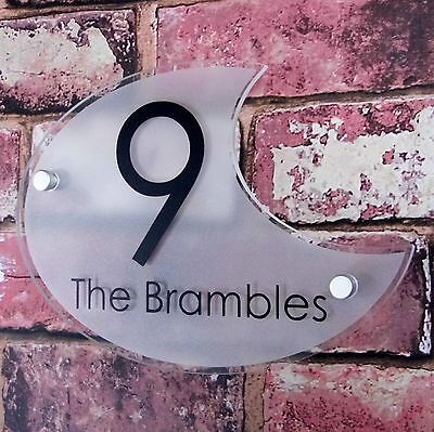 Modern House Sign Street Address Plaque Door Number Customised Glass Effect