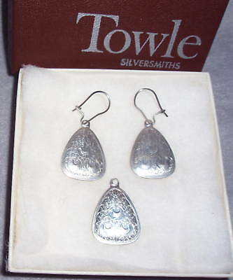 HTF 1973 Towle 12 Days Xmas Sterling Silver 3 French Hens Pendant Earrings Set