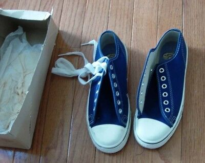 Vintage Boys Canvas Sneakers Size 3 1/2 Usa Blue