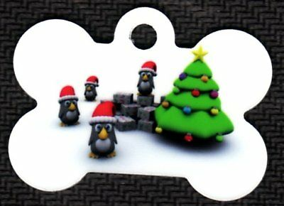 Custom Pet Tag ID Happy Holidays Penguins Bone Fast SSH