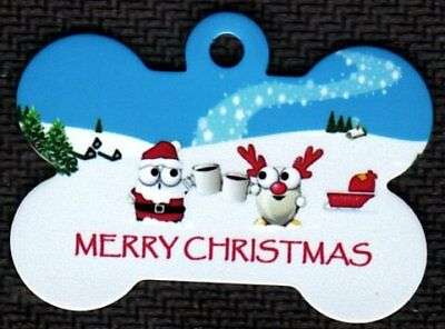 Custom Pet Tag ID Merry Christmas Santa Bone Fast SSH