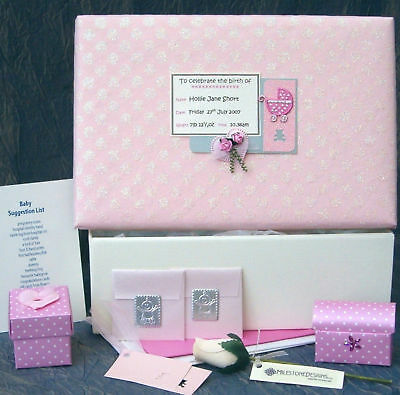 PERSONALISED Baby Girl Memory Box +/- Footprint Kit B18