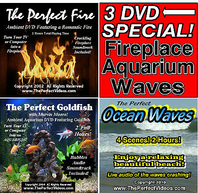 3 DVD Combo Fireplace, Goldfish Aquarium, Ocean Waves Virtual Ambient Video