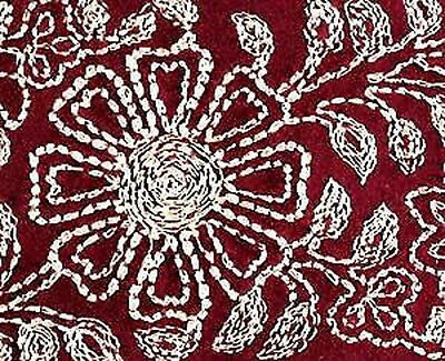 Wide, Embroidered, Iron-On Trim. 3 Yards. Gold on Red