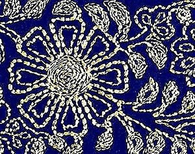 Wide, Embroidered, Iron-On Trim. 3 Yards. Gold on Blue