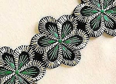 Wide, Iron-On Trim. 3 Yards. Green Flowers