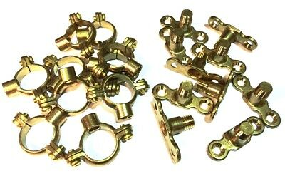 22mm Brass Munsen Rings + Brass Backplates Pack of 10 Single Ring Pipe Fixing