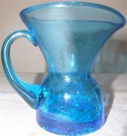 Vintage Blue Crackle Glass Miniature Pitcher Pontil