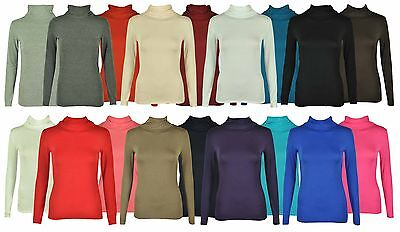 New Ladies Polo Neck Long Sleeve Womens Stretch Top