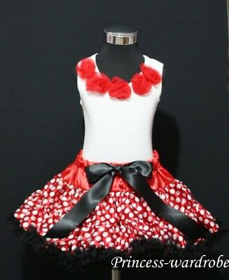 Minnie Red White Polka Dot FULL Pettiskirt Red Top 1-8Y