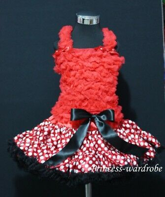 Minnie Red White FULL Pettiskirt Red Ruffles Top 1-8Yrs