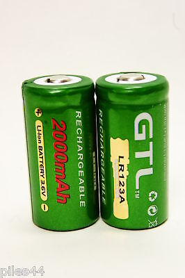 2 Accu Rechargeable CR123A CR123 3.6V 2000mAh GTL