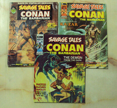 Savage Tales Of Conan Comic Magazine 2 3 5 1973-1974