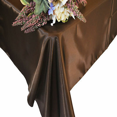 "10 Rectangle 90"" X 132"" Banquet Satin Tablecloths 30 Colors Made in USA Wedding"