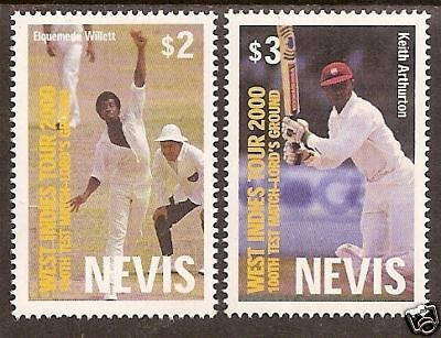 NEVIS 2000 LORD'S CRICKET 100th TEST MATCH 2v MNH
