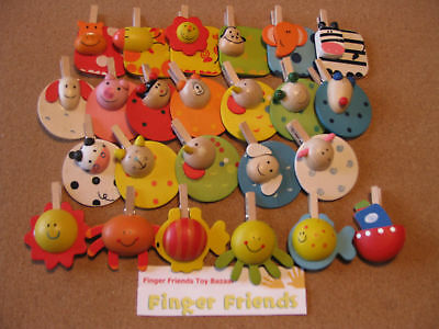 24 mini wooden pegs with 3/D fun animal images great STOCKING FILLERS