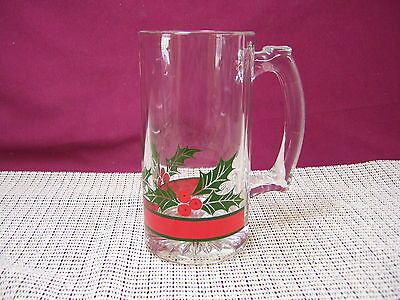 Libbey Glass Holly & Berries Glass Tankard