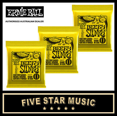 3 Sets Ernie Ball Beefy Slinky 2627 Electric Guitar Strings 11-54 New E2627