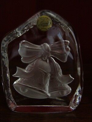 2- Cristal d'Arques Etched Cristal Paperweights/Bookend