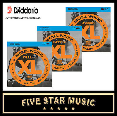 3 Sets Daddario Xl110 Electric Guitar Strings 10-46 New Exl110 D'addario