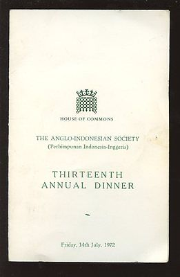 Anglo Indonesian Society 1972 Parliamentary Dinner Menu