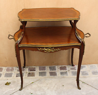 Magnificent 19C French Etagere  Wooden  Inlaid Bronze Table