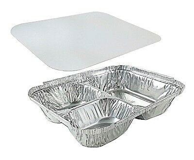 Handi-Foil 3-Compartment Aluminum Take-Out Meal Pan w/Board Lid Combo 50 Pack