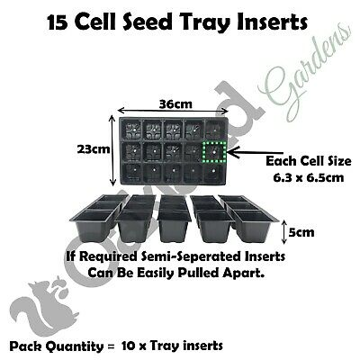 10 X 15 Cell Full Size Seed Tray Inserts Plug Trays Bedding plant Packs Plastic