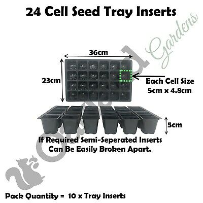 10 X Inserts 24 Cell Full Size Seed Tray Trays Bedding Cavity Pack