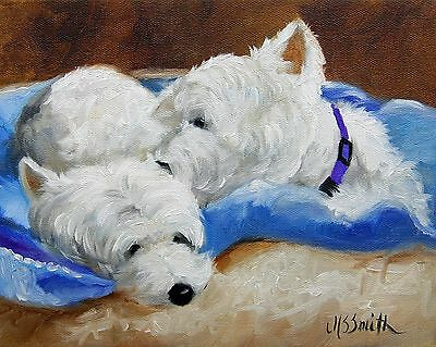 Mary Sparrow -  Westie west highland white terriers dog PRINT kissing puppies