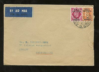 BMA ERITREA 1949 20c + 65c AIR COVER to SWITZERLAND