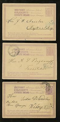 Finland 1876 Postal Stationery +Railway Tpo Vfu 3 Cards