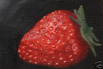 ACEO STRAWBERRY Still Life Art PRINT Painting by VERN