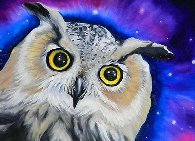 ACEO OWL Night Mini Bird Art Print of Painting by VERN